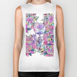 Colorful magenta teal watercolor dream catcher floral Biker Tank