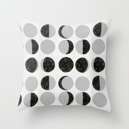 Moon Phases - White Throw Pillow