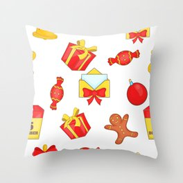 Christmas presents and candies Throw Pillow