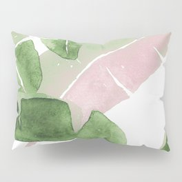 Tropical Leaves Green And Pink Pillow Sham