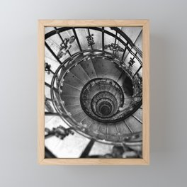Black and white photography. Spiral staircase photo. Old classic architecture Framed Mini Art Print