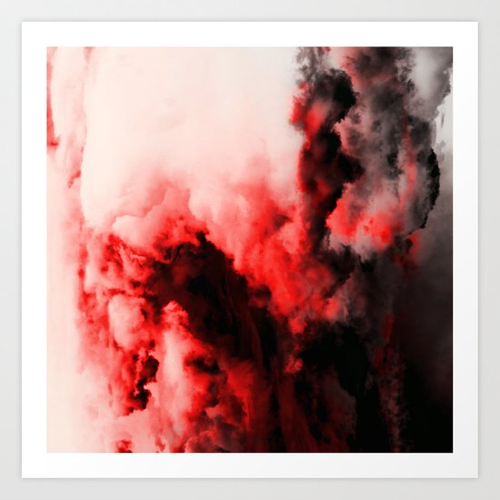 In Pain - Red And Black Abstract Art Print