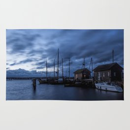 Blue memories- Blue hour at an harbour at the Sea #Society6 Rug