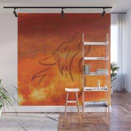 Howling Wolf on Desert Varnish Wall Mural