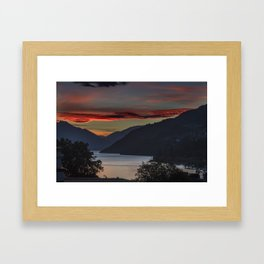 Sunset over Queenstown and Lake Wakatipu Framed Art Print