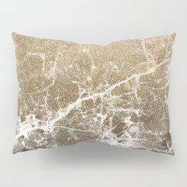 Vintage black white gold glitter marble Pillow Sham