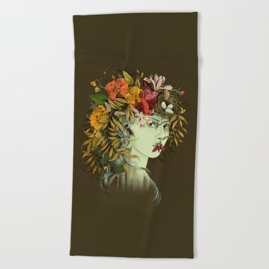 Persephone, goddess of Spring Beach Towel