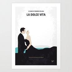 No529 My La dolce vita minimal movie poster Art Print
