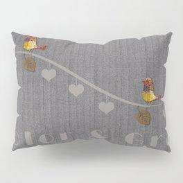 Romantic Hearts Love Birds Bright Color Gray Textured Pillow Sham