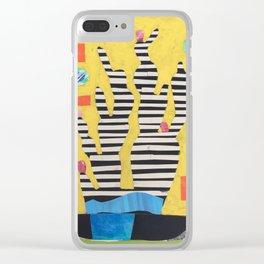Striped Cactus Clear iPhone Case