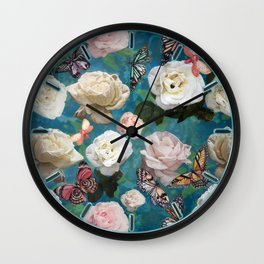 White Roses and Butterflies Wall Clock