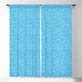 Chinese Spirals Pattern | Abstract Waves | Swirl Patterns | Circles and Swirls | Turquoise and White Blackout Curtain