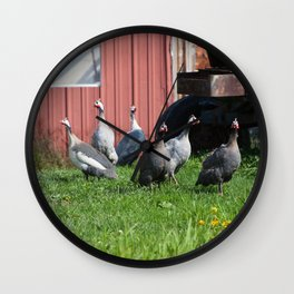 Gaggle of Guinea Hens Wall Clock