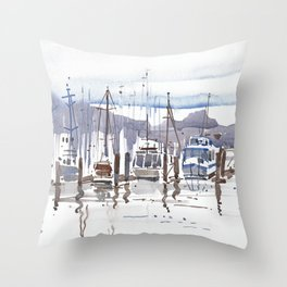 Watercolor Art, Landscape Art Poster, Wall Art, Handmade Watercolor Painting, Marina Boats Throw Pillow