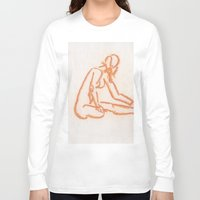 nudes Long Sleeve T-shirts featuring Nudes looking away by CharlieValintyne