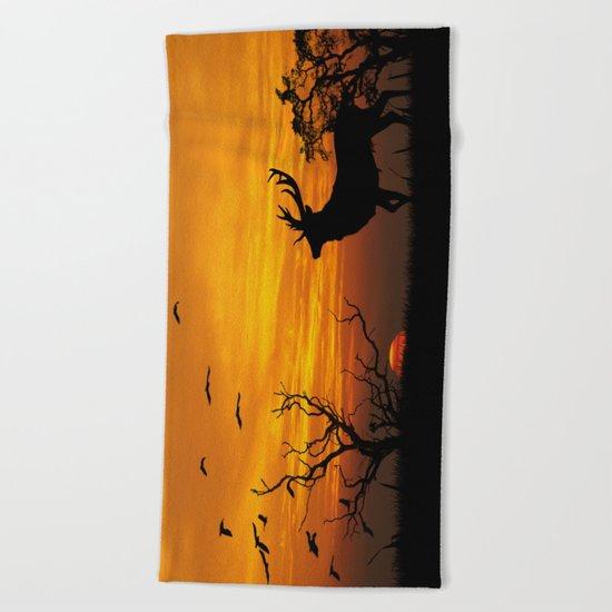 Sunset Deer Silhouette Beach Towel