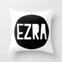 ezra koenig Throw Pillows featuring EZRA cushion by Amy Lovesowls
