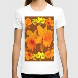 YELLOW SPRING DAFFODILS & COFFEE BROWN COLOR ART T-shirt
