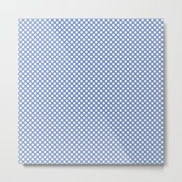Cornflower Blue and White Polka Dots Metal Print