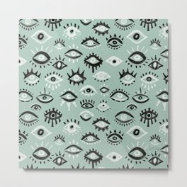 Mystic Eyes – Mint & Black Metal Print