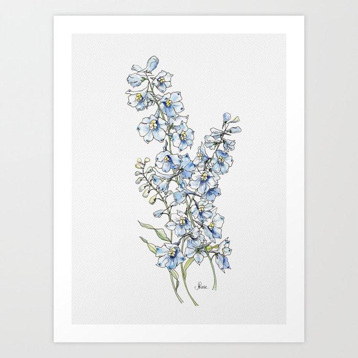 Blue Delphinium Flowers Kunstdrucke