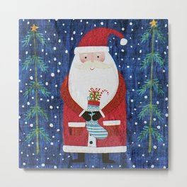Santa with Stocking Metal Print
