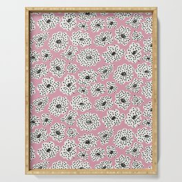 Spotted modern floral on dusty pink Serving Tray