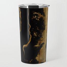 Gold Marble on Black Travel Mug