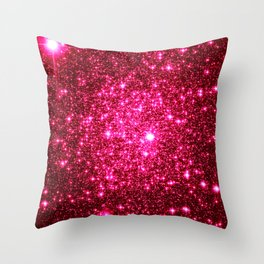 Hot Pink Glitter Galaxy Stars Throw Pillow