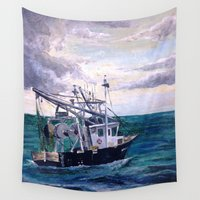 england Wall Tapestries featuring New England by Samantha Crepeau