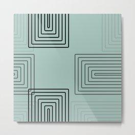 Baesic Retro Rectangles Seafoam Metal Print