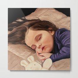 Sleeping Little Girl Painting Metal Print