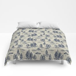 Alien Abduction Toile De Jouy Pattern in Blue Comforters