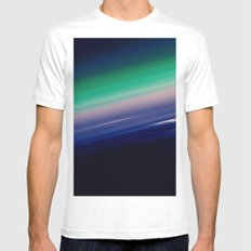 Midnight Blue Teal Ombre MEDIUM Mens Fitted Tee White