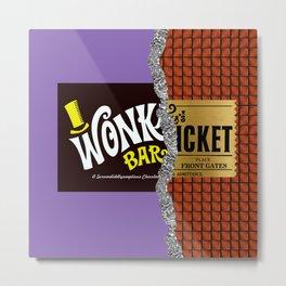Wonka's Golden Ticket Chocolate Metal Print