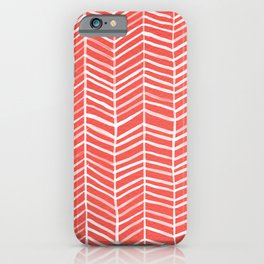 Coral Herringbone iPhone Case