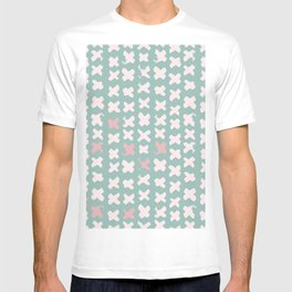 Contemporary X Paint Cross stich Mint Pink Pattern T-shirt