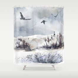 Soaring Above Sandy Beaches Against Stormy Skies Shower Curtain