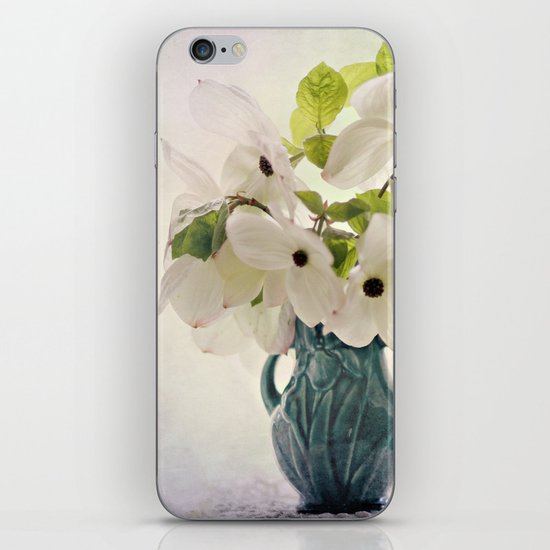 dogwoods in vintage vase iPhone Skin