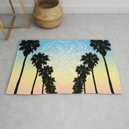 Palm Tree Sunset Mandala Rug