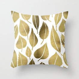 Cascading Leaves – Gold Palette Throw Pillow