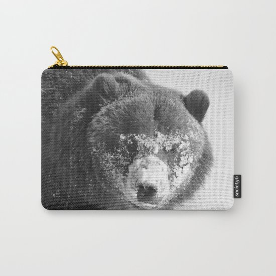 Alaskan Grizzly Bear in Snow, B & W - 3 Carry-All Pouch