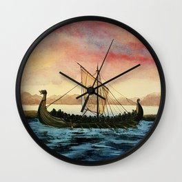 Drakkar, watercolor Wall Clock