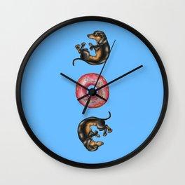 Dachshunds & Donuts  Wall Clock