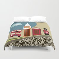 england Duvet Covers featuring London England by Lanre Studio