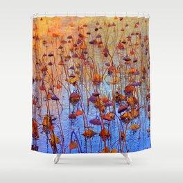 Dead Lotus Flower Shower Curtain