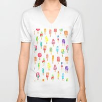 popsicle V-neck T-shirts featuring Popsicle by Golden Girl Art