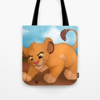 simba Tote Bags featuring Simba and Ladybug by Katterson