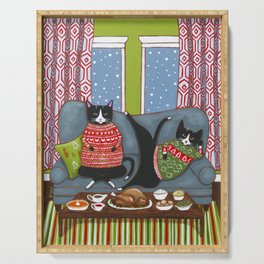 Holiday Couch Potato Cats Serving Tray