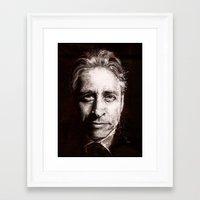 jon contino Framed Art Prints featuring Jon Stewart by Fay Helfer